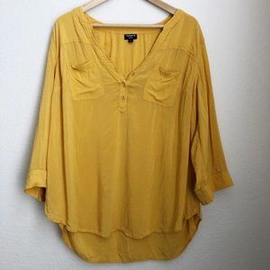 Torrid Harper Yellow 3/4 Sleeve Blouse SZ 1